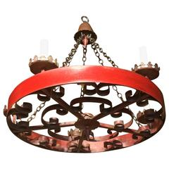Spanish Red Tole Chandelier