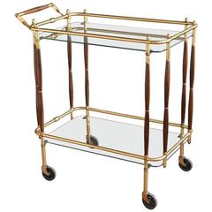 Italian Brass and Walnut Bar Cart in the Style of Cesare Lacca