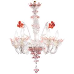 Murano Glass Crystal and Pink Rose Chandelier