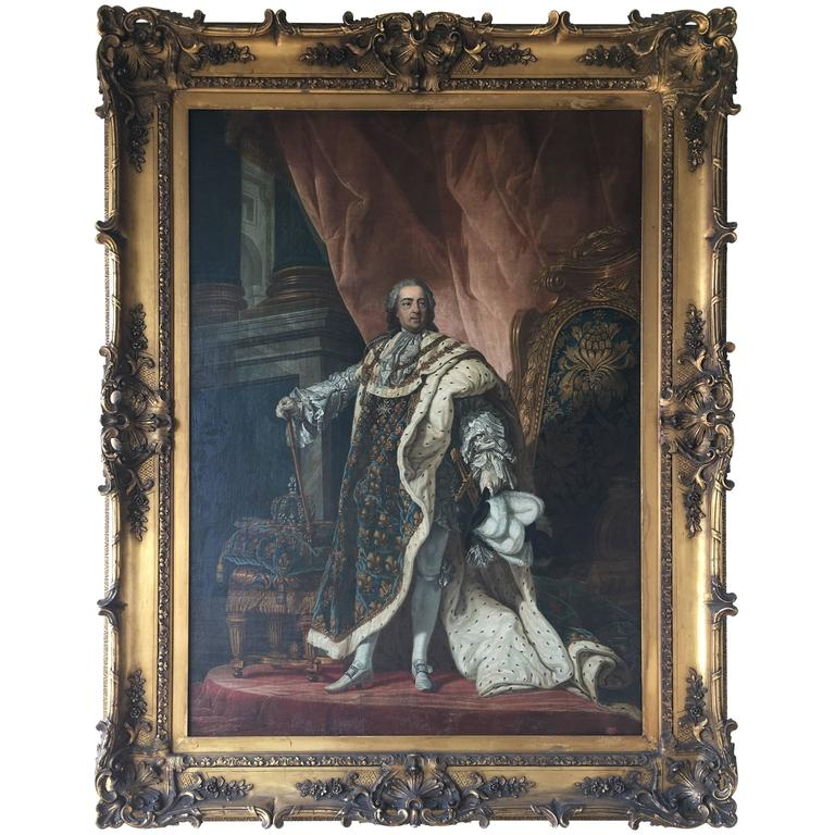 Large 19th Century Oil Painting of Louis XIV