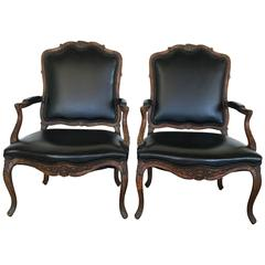 French Pair Rococo Armchairs