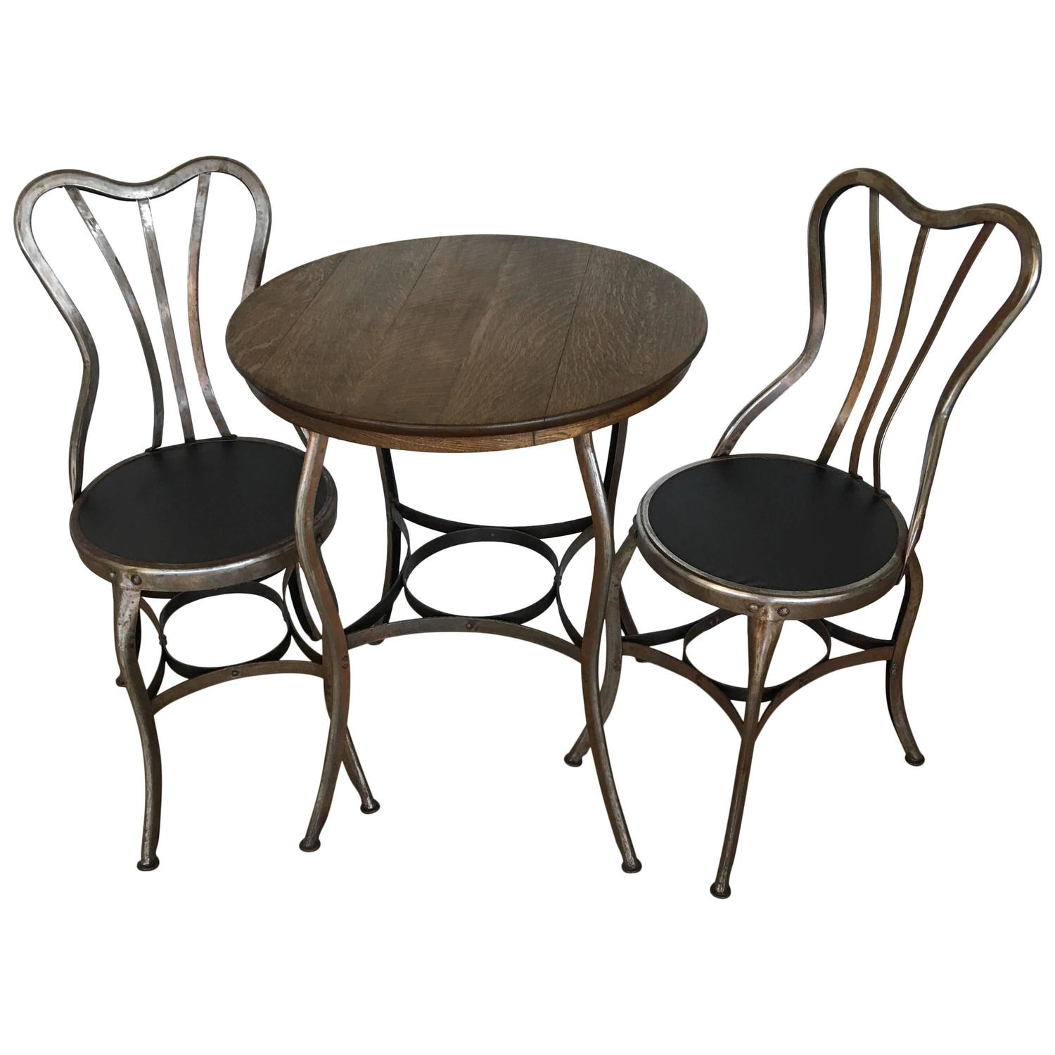 Toledo Bistro Cafe Set Of Two Chairs And Table At 1stdibs