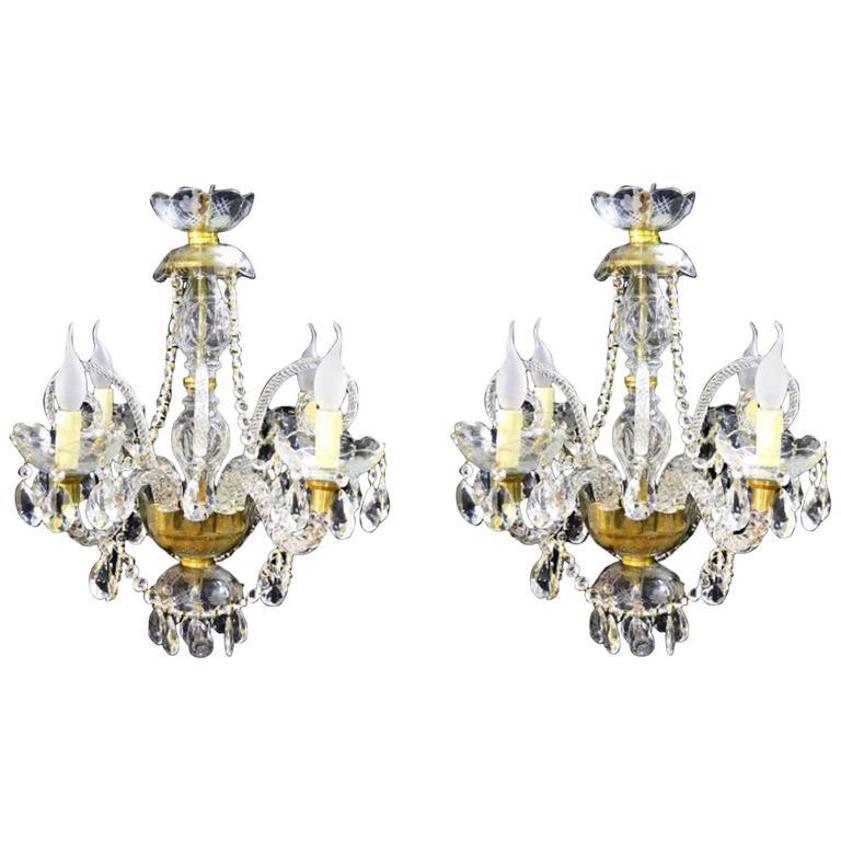 Pair of Vintage Venetian Four-Light Crystal Chandeliers
