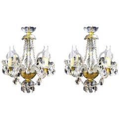 Pair of Vintage Venetian Four-Light Crystal Chandeliers