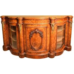 Antique Victorian Burr Walnut Serpentine Credenza, circa 1860