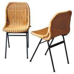 Dutch Rattan Chairs by Dirk van Sliedregt for Rohé Noordwolde, Set of Two