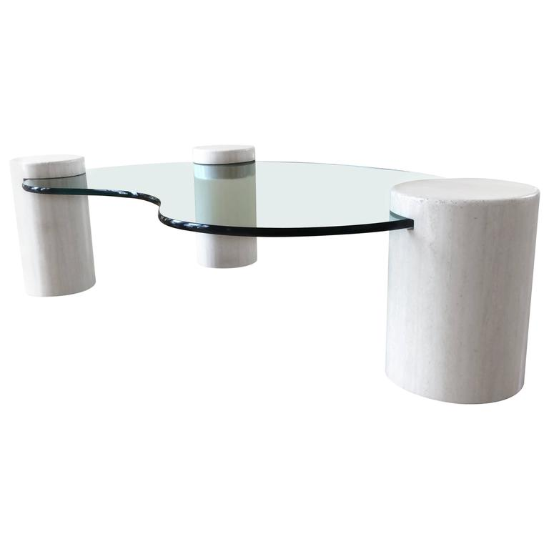 Unique Glass and Marble Coffee Table by Enzo Gallo