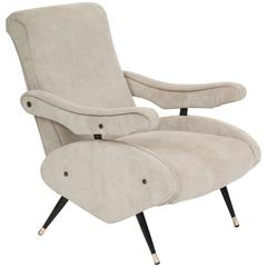 Marco Zanuso Style Lounge Chair with Reclining Back Mid-Century, Italian