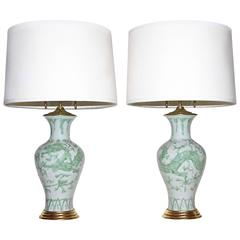 Pair of Pale Green Asian Dragon Ceramic Giltwood Base Table Lamps