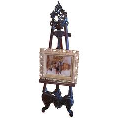 early 20th century french oak floor easel with adjustable tray and