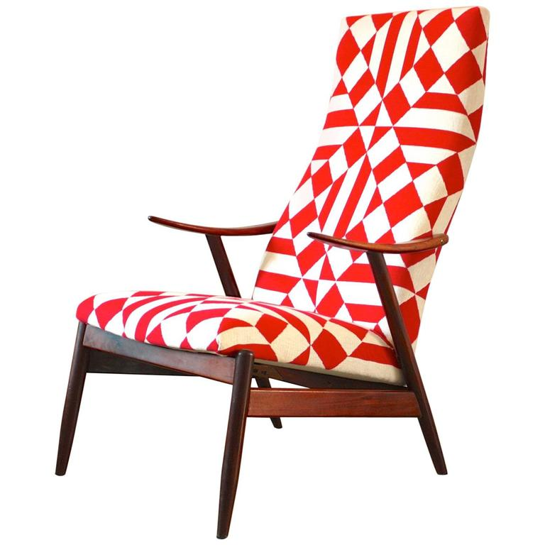 Vintage Danish High Back Lounge Chair At 1stdibs
