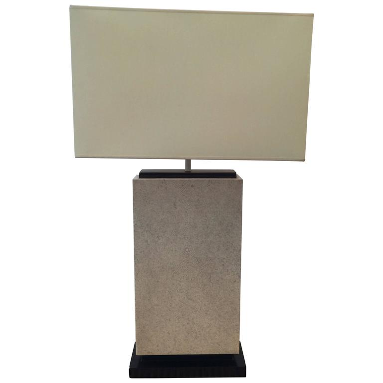 Exceptional Natural Shagreen and Macassar Karl Springer Style Table Lamp
