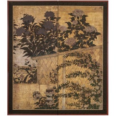 Japanese Two Panel Screen: Summer Flowers in a Garden Setting