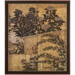Japanese Two-Panel Screen: Peony over a Woven Fence on Gold
