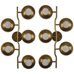 Rare Pair of Brass Sconces by Stilnovo