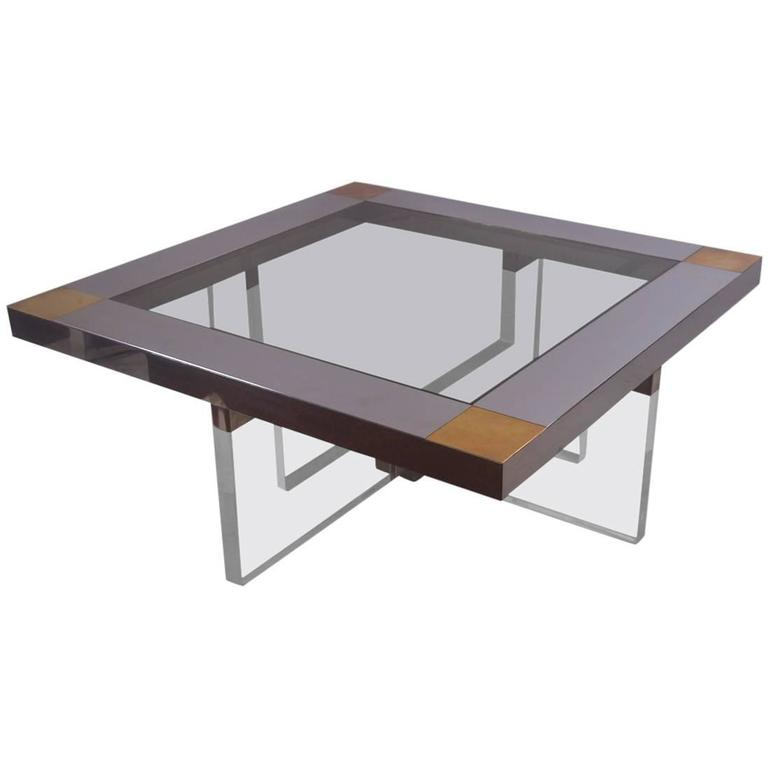 Lucite Chrome Br Coffee Table With Smoked Gl Insert Top At