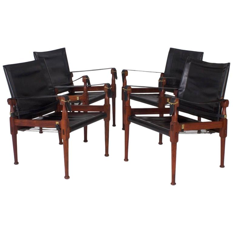Set Of Four Mid Century Safari Or Campaign Leather Chairs For