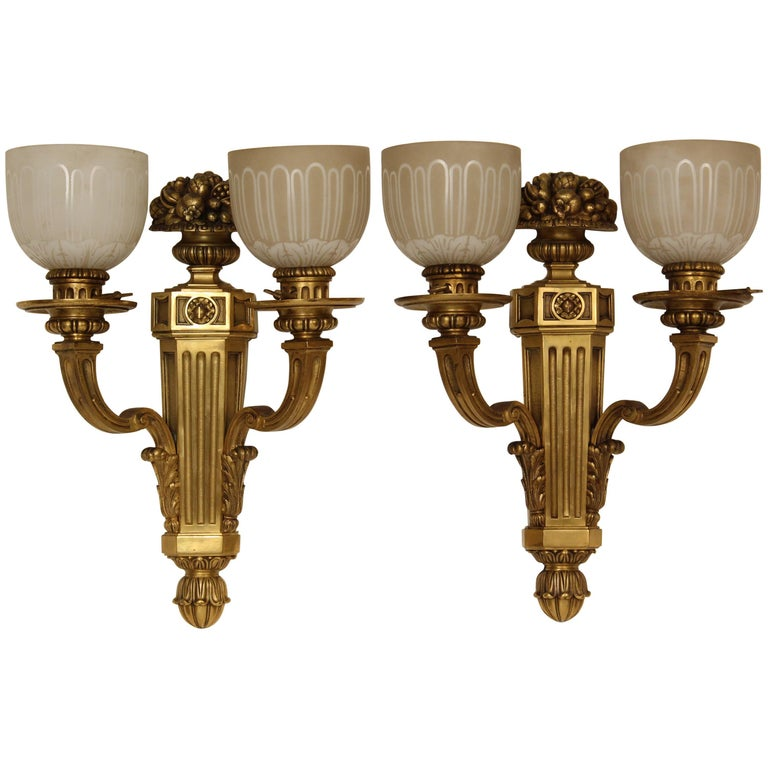 Pair of Louis XIV Style Gilt Bronze Wall Sconces For Sale