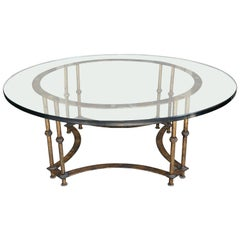 Vintage Mid-Century Gilded Iron and Glass Topped Coffee Table