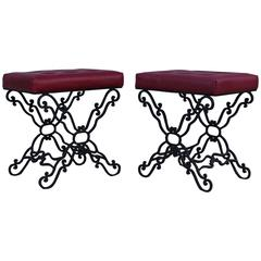 1960s Iron and Leather Ottomans