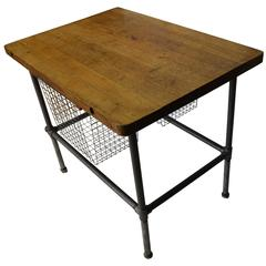 Kitchen Island, Work Table with Maple Top and Sliding Baskets on Steel Pipe Base