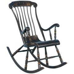 Antique Black Swedish Rocking Chair with Original Black Paint, Dated 1911