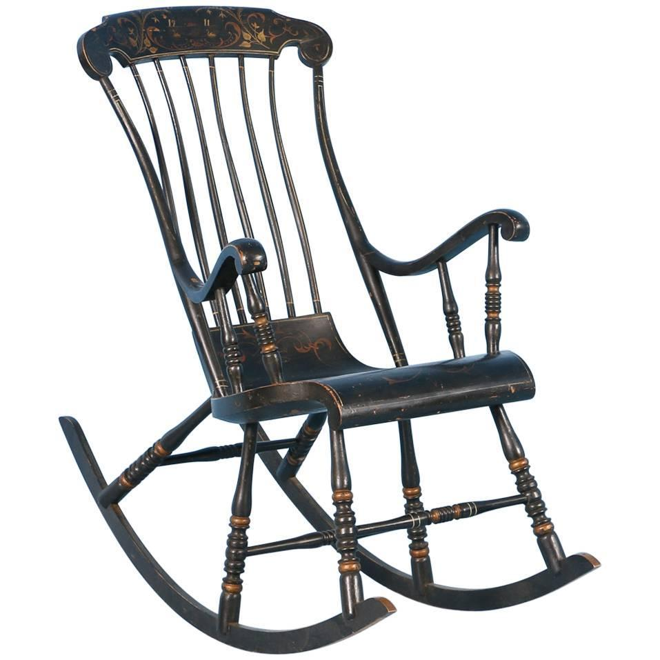 Antique Black Swedish Rocking Chair with Original Black Paint, Dated 1911  at 1stdibs - Antique Black Swedish Rocking Chair With Original Black Paint