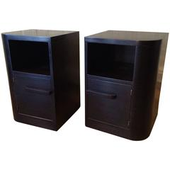 Pair of Art Deco Ebonized Maple Night Tables by Modernage