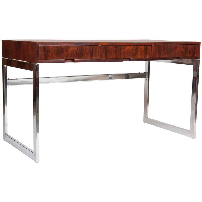Sleek Rosewood and Chrome Desk by Milo Baughman 1
