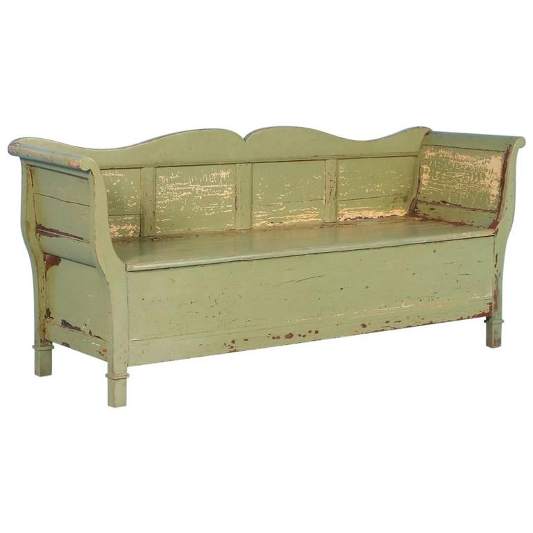 Antique Swedish Green Painted Storage Bench Circa 1860 For Sale At 1stdibs