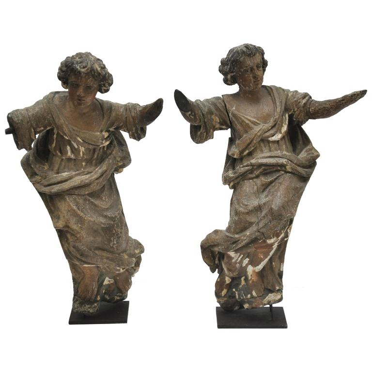 Carved Wood Statues, German Rococo