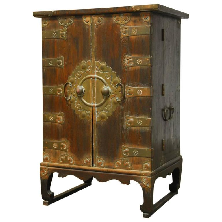 Korean Campaign Style Secrétaire Cabinet Chest with Desk - Antique Korean Cabinet For Sale At 1stdibs