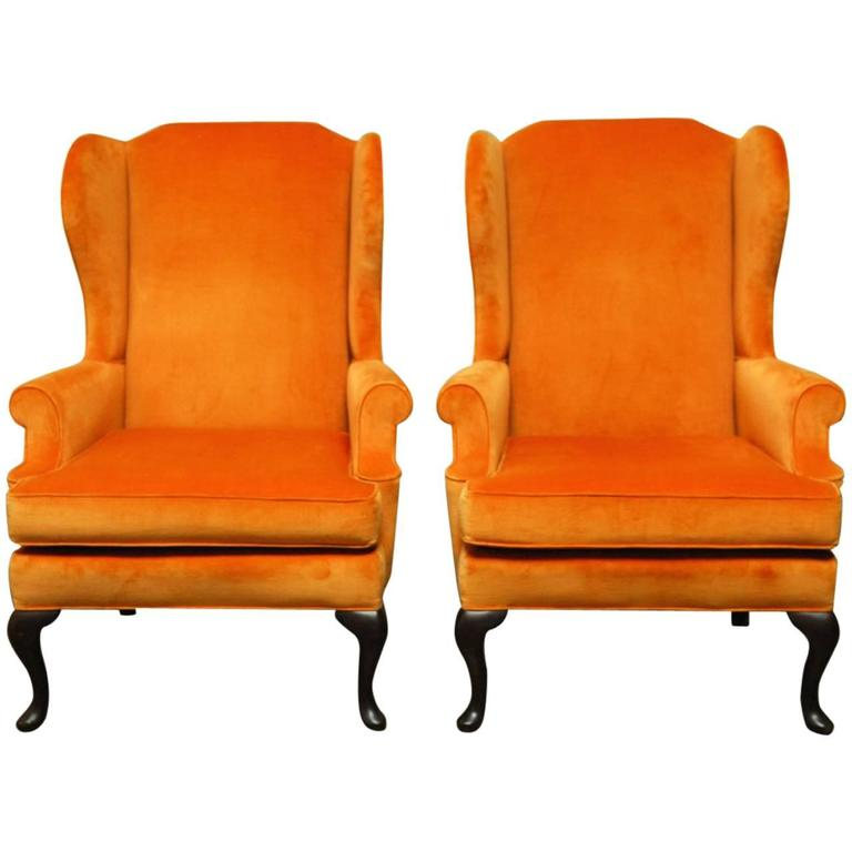 Pair Of Queen Anne Style Orange Crush Velvet Wing Chairs For