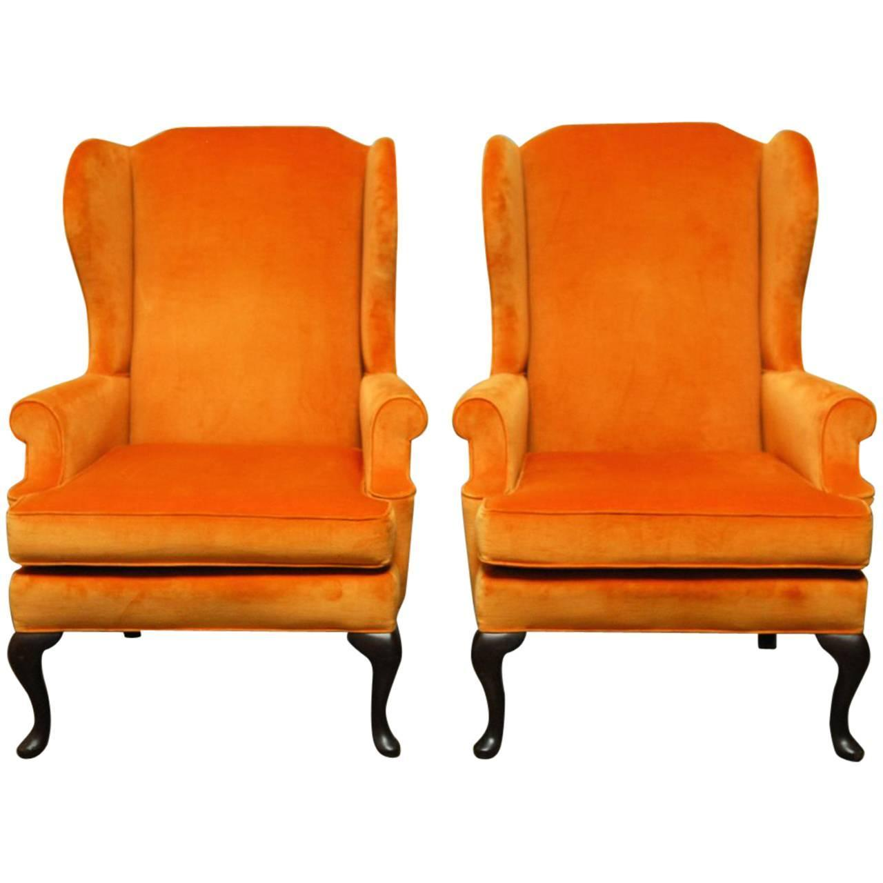 Pair Of Queen Anne Style Orange Crush Velvet Wing Chairs At
