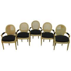 Set of Five Louis XVI Style Cane Fauteuil Armchairs