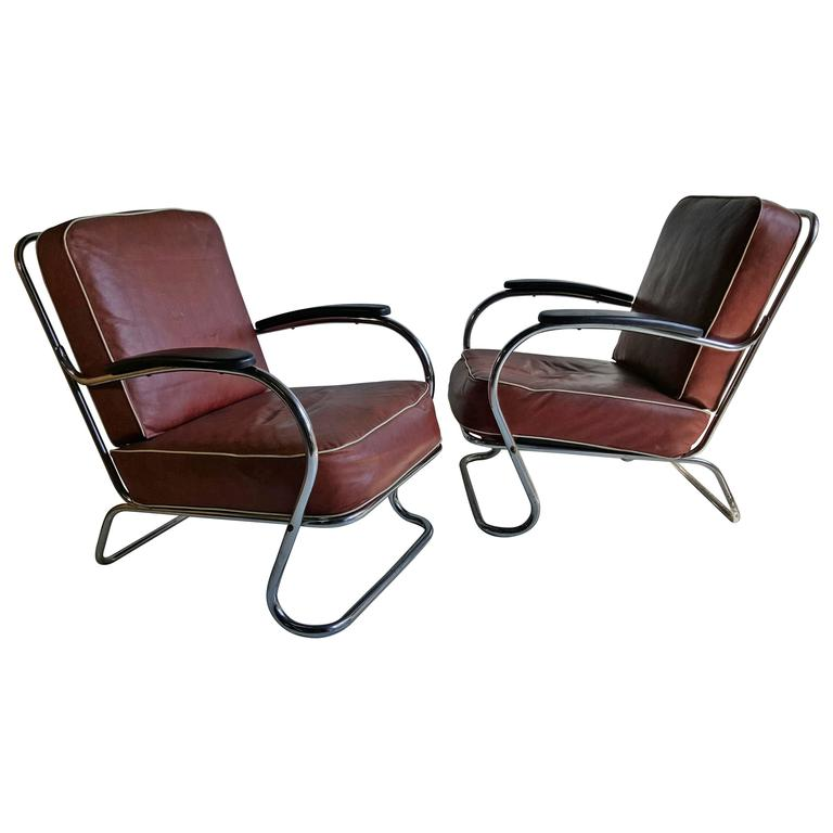 Pair of Art Deco Tubular Chrome Lounge Chairs, K E M Weber, Lloyd