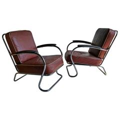 Pair of Art Deco Tubular Chrome Lounge Chairs, K E M Weber, Lloyd