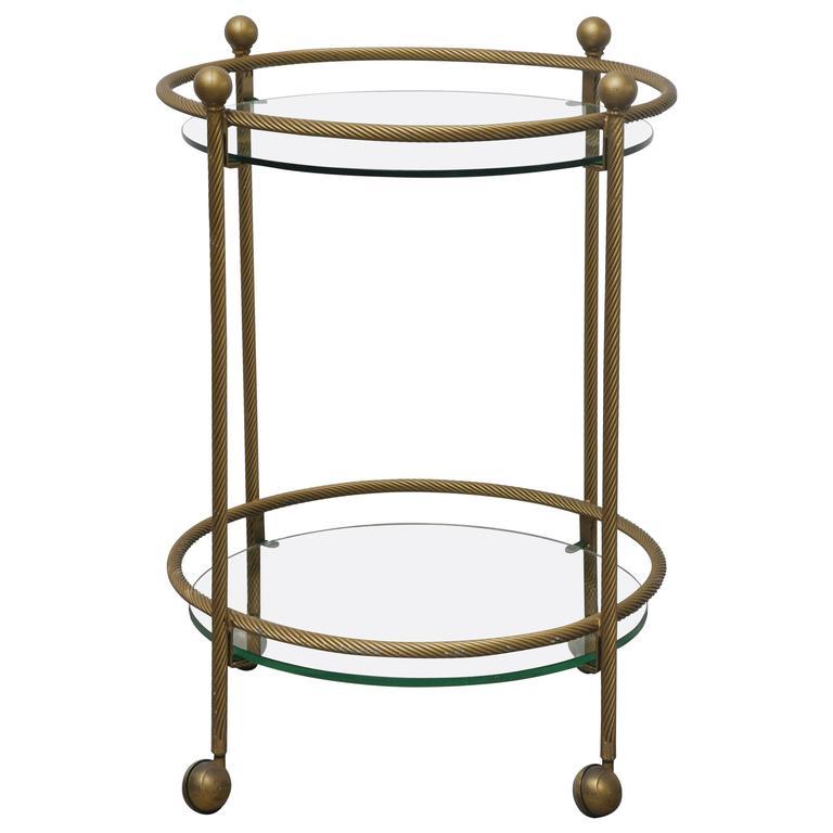 vintage brass bar cart on wheels at 1stdibs. Black Bedroom Furniture Sets. Home Design Ideas
