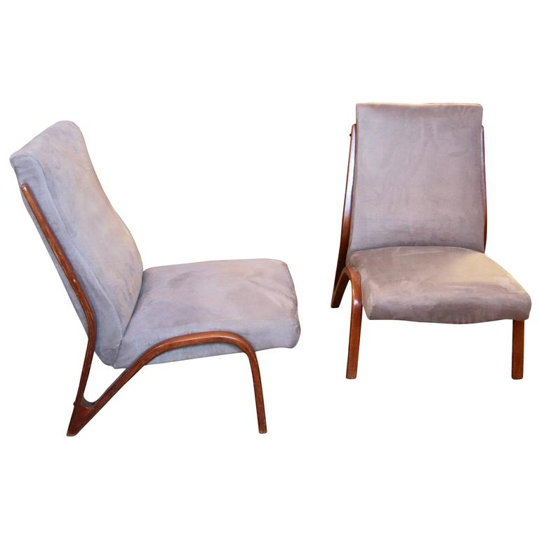 Pair of Sculptural Italian 1960s Lounge Chairs in Velvet Cotton