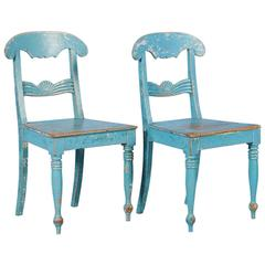 Pair of Antique Original Blue Painted Side Chairs from Sweden, circa 1860