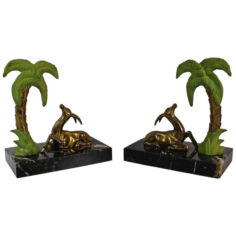 French Art Deco Antelope Bookends For Sale
