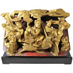 Vintage Chinese Carved Giltwood Sculpture on Stand