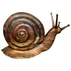 19th Century Hand-Carved Wood Escargot Folk Art Escargot Advertising Piece