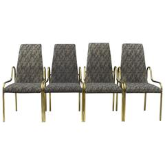 Set of Four Brass Mastercraft Dining Chairs