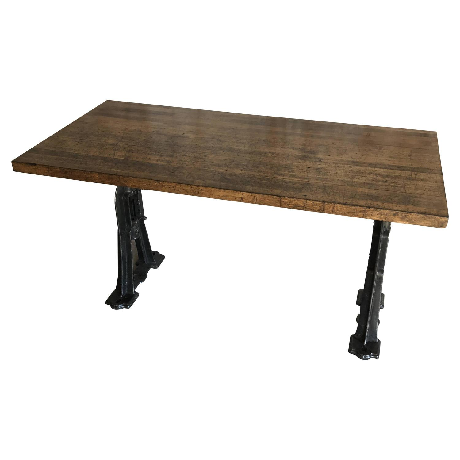 Industrial cast iron base dining room table for sale at for Dining table base
