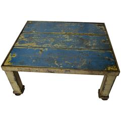 Coffee Table with Wooden Top Inset into Industrial Steel Frame on Wheels