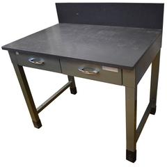 Mid-Century Steel Desk with As-Found Slate Top and Backsplash