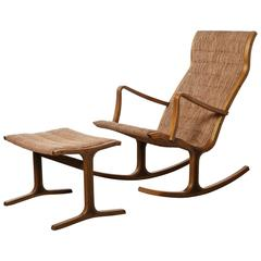 Heron Rocking Chair and Footstool by Mitsumasa Sugasawa for Tendo Mokko, Japan