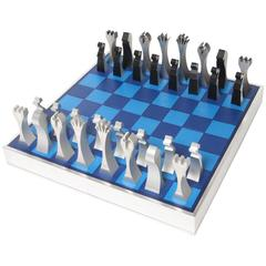 Mid-Century Chess Set, Machine Tooled Aluminum, 1972, USA
