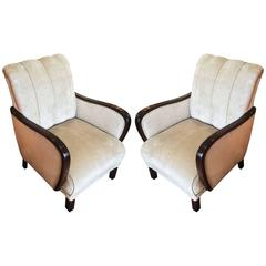 Pair of Art Deco German Armchairs Lounge Chairs, circa 1930